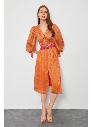 Setre Oranj Kemerli Balon Kol Elbise Oranj